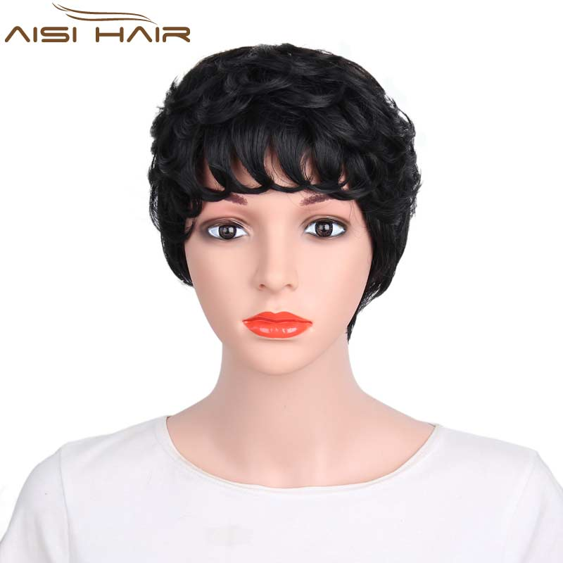 I s a wig Synthetic Short Wigs for Black Women African American Short Black Hair