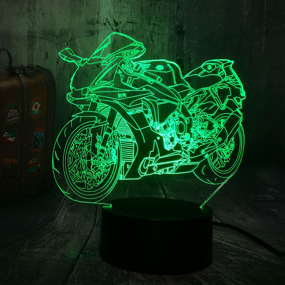 Cool Motorcycle Bicycle Motorbike Boys Toys 3D LED Night Light USB RGB Baby Sleep Table Lamp Home Decor Novelty Christmas Gift
