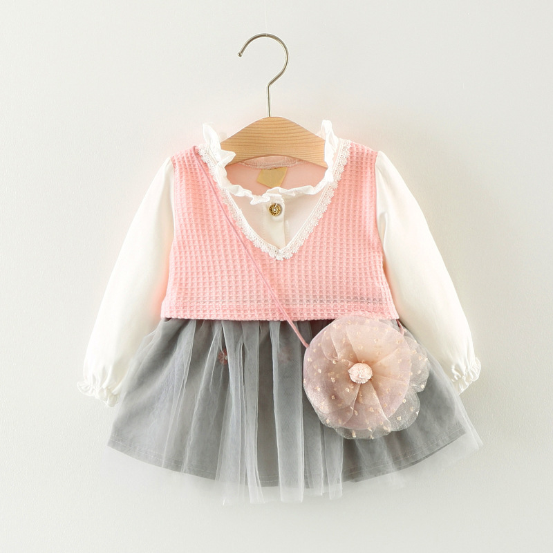 Girls Dress Brand 2017 New Autumn Baby Girls Clothes Fashion Cute With Flowers Long Sleeves Mesh Dress Children Clothing