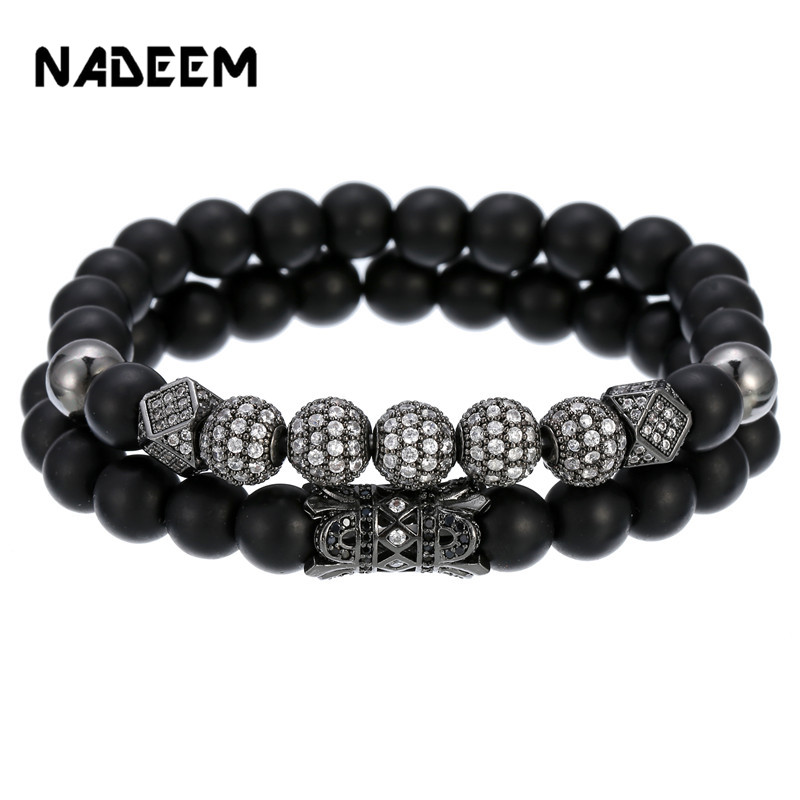 Luxury Fashion Men Homme Couple Bracelet Sets Jewelry 8MM Natural Stone Pave Zircon CZ Ball Tube Polygon Beaded Bracelet Sets in Charm Bracelets from Jewelry Accessories
