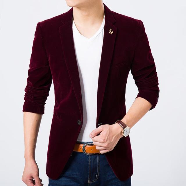 Mens velvet fashion blazer wine red light blue coffee