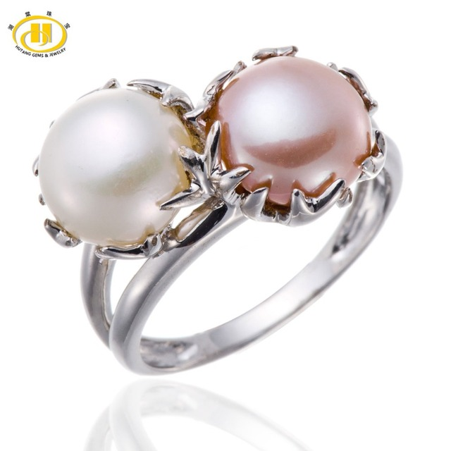 Hutang White & Pink Freshwater Pearl Solid 925 Sterling Silver Jewelry Womens Rings Party Wedding Womens