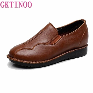 Image 2 - Handmade Shoes Woman 2020 Leather Women Shoes Flats 3 Colors Loafers Slip On Womens Flat Shoes Moccasins