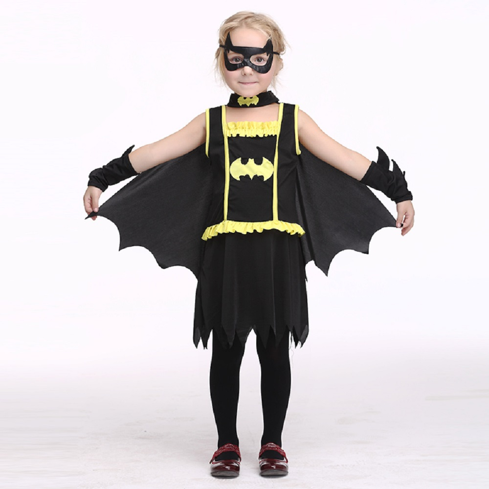 2017 New Girl Batman Dress Costume Halloween Costume Kids Stage & Dance Wear Toddler Party Cosplay Short Sleeve Skirt