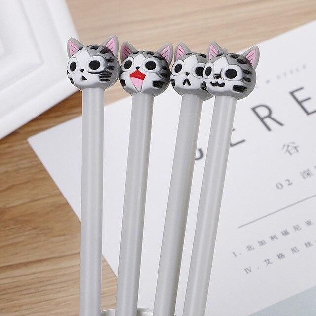 40 шт. креативный мультяшный котенок нейтральная ручка милая головка из силикагеля Студенческая Водонепроницаемая офисная канцелярская черная игла ручка