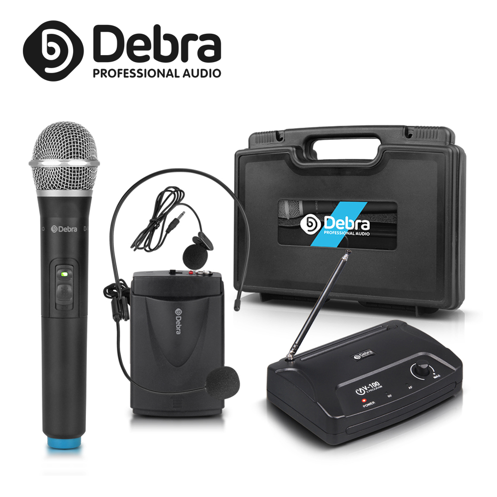 Debra Mini V-100 VHF Wireless Microphone Mic System With Portable Case With HandHeld Or Lavalier & Heatset For Karaoke