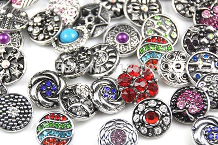 Hot wholesale 6pcs/lot High quality Mix styles 18mm Metal Snap Button Charm Rhinestone Styles Button Diy Snaps Jewelry image
