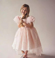 New Pink Flower Girls Dresses Jewel Neck Fur Tulle Applique Princess Kids Party Birthday Gowns 2018 Girls Customized Gown