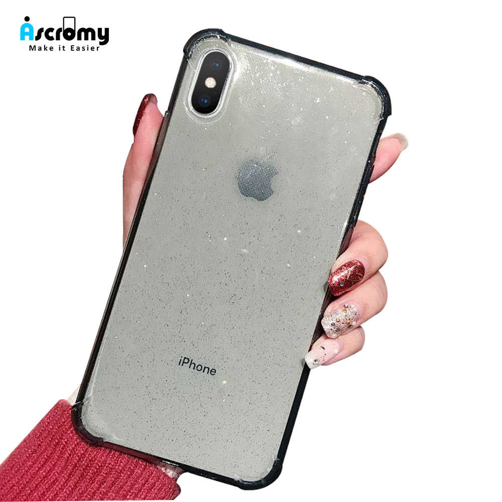 Ascromy Glitter Case For iPhone X XR XS Max 8 7 6 6S Plus Cover Transparen Protection Shockproof TPU Shining Powder Fundas Coque