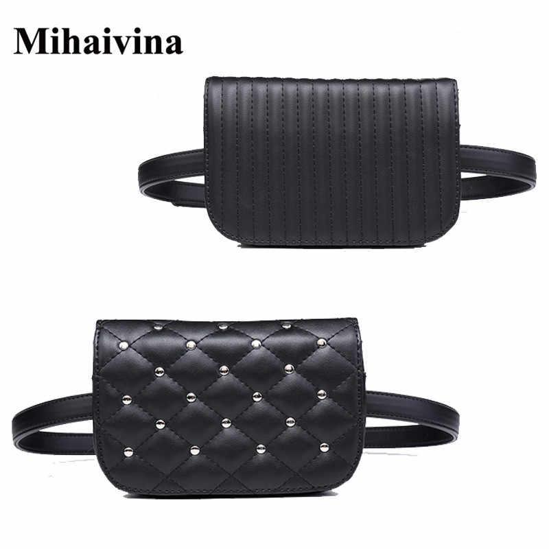 Mihaivina ファッション黒革ファニーパック女性ウエストパックカジュアル小さなウエストポーチ女性革ウエストバッグリベット財布 bolosa