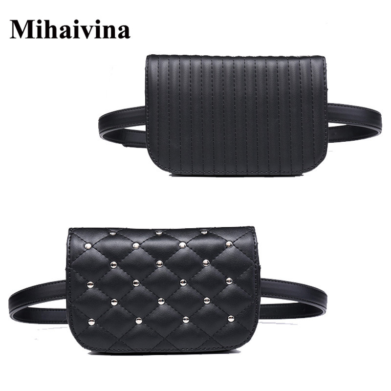 Mihaivina Fashion Black Leather Fanny Pack Women Waist Pack Casual Small Waist Pouch Women Leather Waist Bag Rivets Purse Bolosa