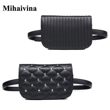 Mihaivina fashion black leather fanny pack women waist casual small pouch bag rivets purse bolosa