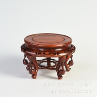 Cheap red sandalwood Begonia bonsai vases stand fish tank a few solid wood seat Kistler jade carvings seat bottom Home Decoratio