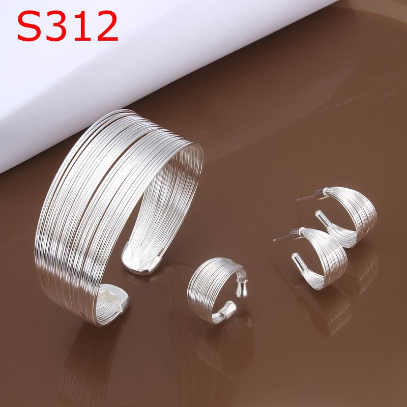 S312 925 fine jewelry set Nickle free antiallergic MultiStands Ring Earrings Bangle Jewelry Set choker necklace