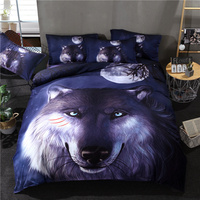 Hot sale Starry moon Wolf Bedding Set Blue and Yellow 3D Quilt Cover Pillowcases Wolf Wolves Bed Set 3pcs Home Textiles