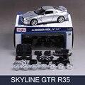 De montaje de automóviles modelo skyline gtr r35 gt-r 1:24 diy metal racing vehículo play juguetes de colección modelos de coches deportivos para el regalo
