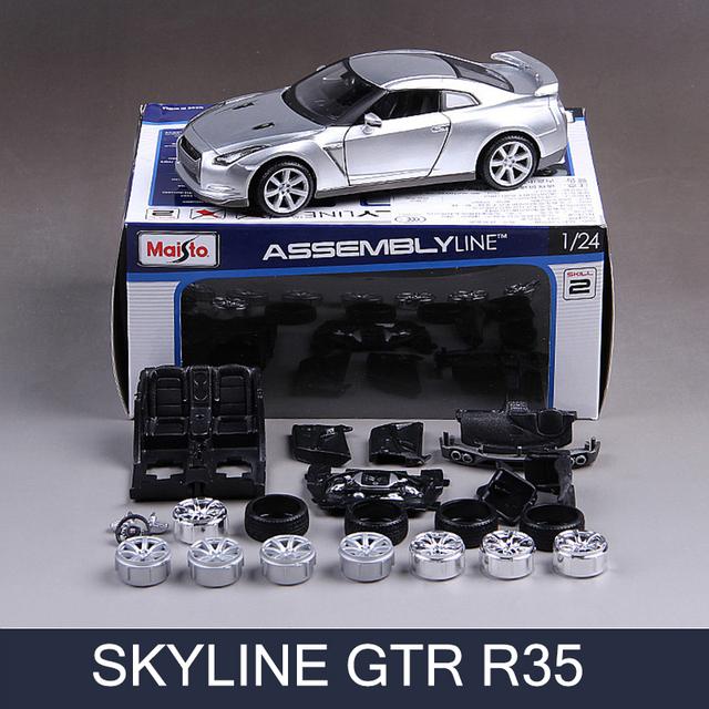 Gt-r skyline gtr r35 1:24 carro modelo de montagem diy veículo play collectible modelos de carros esportivos de corrida de metal brinquedos para o presente