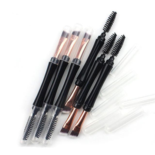 Professional Double Head Eye Brushes Wood Handle Double Sided Eyebrow Makeup Brush Flat Angled Eye Liner Brushes Tools 14cm 2