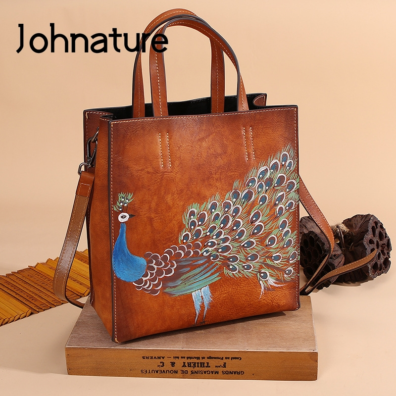 Johnature 2020 New Genuine Leather Casual Tote Vintage Animal Prints Zipper Hard Versatile Hand Painted Peacock Women Handbags