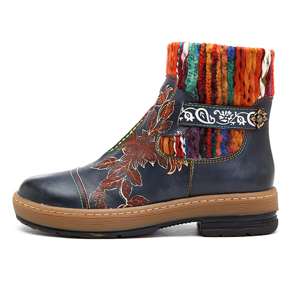 Johnature Wool Knit Floral Vintage 2019 New Genuine Leather Ankle Boots for Women Ladies Shoes Woman