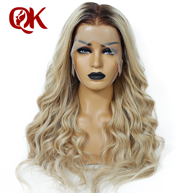 QueenKing hair Front Lace 180 Density Lemi Balayage Ombre Color Wig T4 27 613 Brazilian Remy