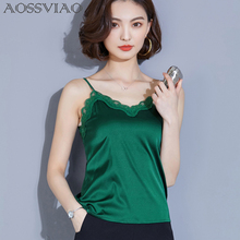 2019 Silk Fashion Women Shirt Sexy Camisole Top New Ladies White Sleeveless Tank Tops Evening Party Club Patchwork Lace Vest