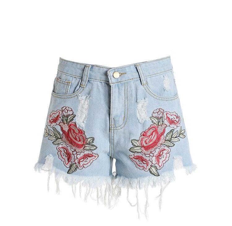 2018 Blue Hot Summer Denim   Shorts   Casual Embroidery Floral Women   Short   Womens Jeans Femme High Waist Mujer Woman Fashion