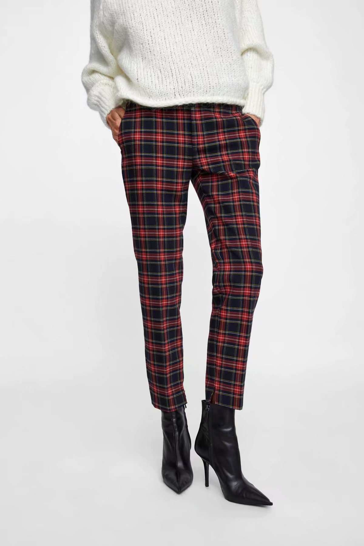 2018 Women Red Plaid Pants British Style Retro Vintage Checker Pattern Trousers 5