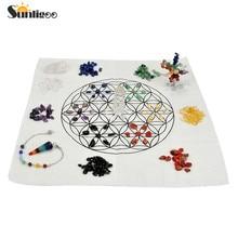 Sunligoo New 7 Chakra Healing Crystal Grids Kit/Lot of 7 Chakra Assorted Chip Gemstones/Money Tree/Pendulum Pendant Clear Quartz