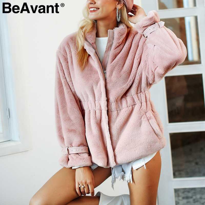 BeAvant пушистый сладкий розовая шуба для женщин на молнии мягкий теплый зимний плюшевый пиджак пальто осенняя мода эластичная приталенная верхняя одежда женская