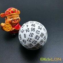 Bescon многогранные кости 100 сторон кости, D100 штампы, 100 сторонний кубик, D100 игровые кубики, 100 сторонний кубик белого цвета
