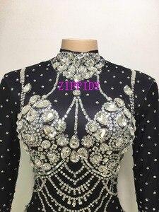Image 3 - Блестящие кристаллы телесный комбинезон стрейч камни наряд для празднования яркий Стразы боди костюм женский певец платье на день рождения