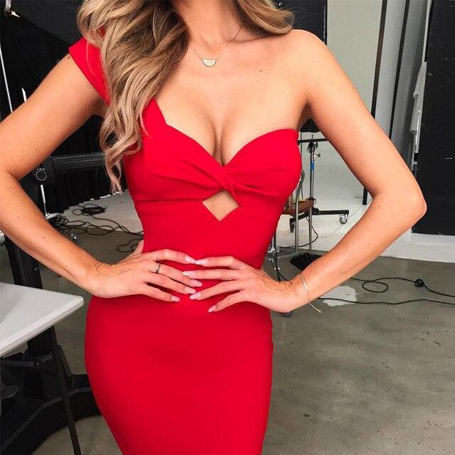 Seamyla Sexy Bandage Dresses 2019 Nova Moda de Um Ombro Bodycon Celebridade Vestido de Festa Vestidos Clubwear Branco Preto Vermelho