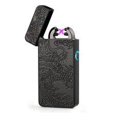 2018 электронная сигарета зажигалка БЛАГОРОДНЫЙ двойной импульсный дуга Зажигалка USB Перезаряжаемый беспламенный Электрический дуговые зажигалки Прямая доставка
