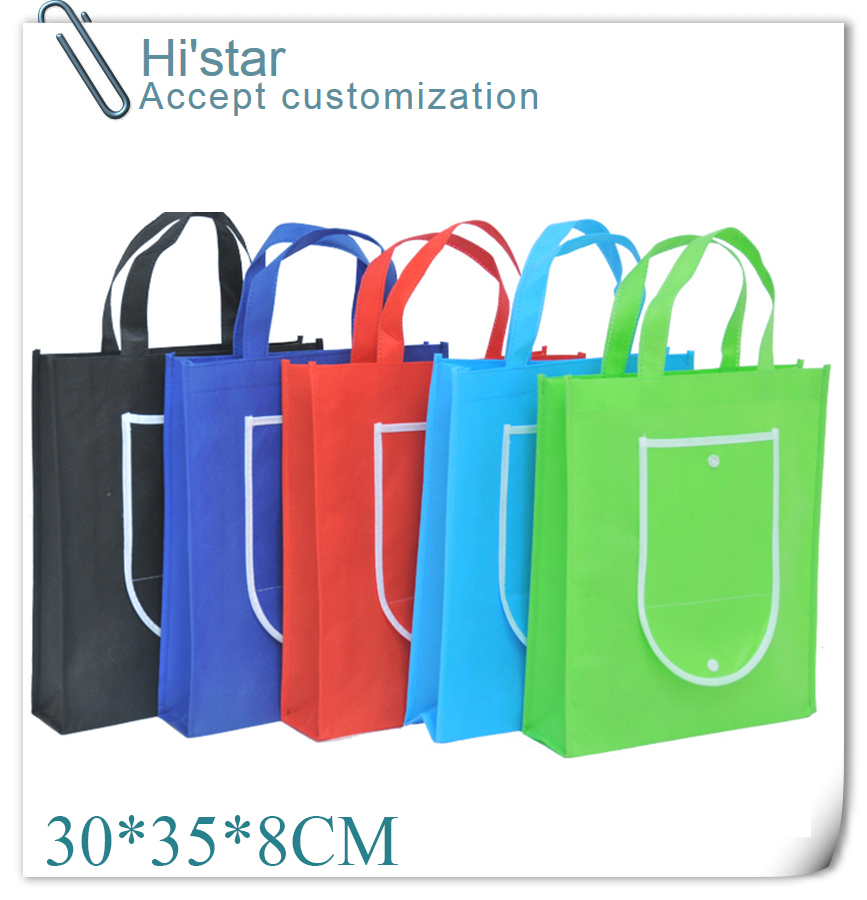 30*35*8CM 20pcs Factory directly export Folding into wallet non woven shopping bag for gift/advertisement/party/supermaket