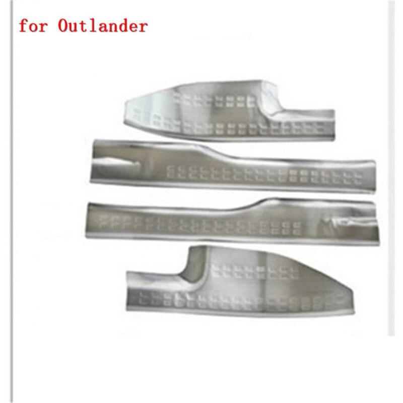 Accessoires de voiture de garniture de plaque de seuil de seuil de porte interne en acier inoxydable pour Mitsubishi Outlander samouraï 2007-2012 4 pièces