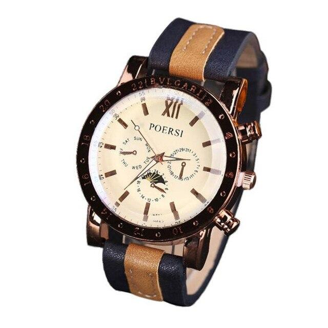 c5e50f8e05a Relógio de Vestido de luxo dos homens Relógios Analógicos Quartz Faux  Leather Wrist Esporte Assista Relogio