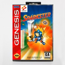 Sparkster 16 bit MD card with Retail box for Sega MegaDrive Video Game console system