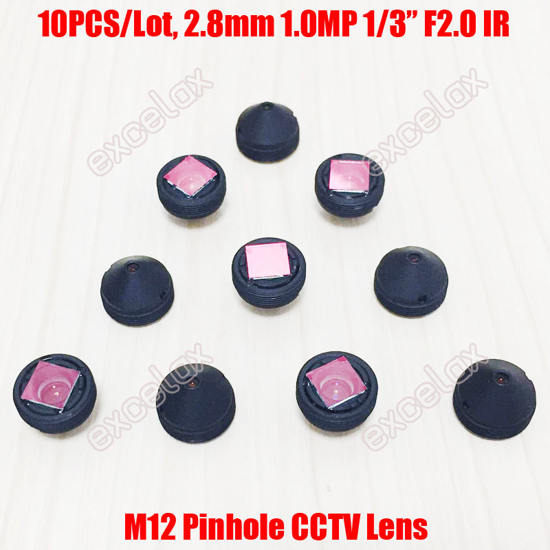 10PCS Lot 1MP 1 3 2 8mm F2 0 IR Conical Pinhole CCTV Board Lens M12