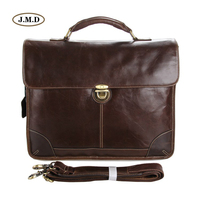 J M D Brand Genuine Cow Leather Chocolate Color Laptop Bag Simple Design Classic Briefcase Business