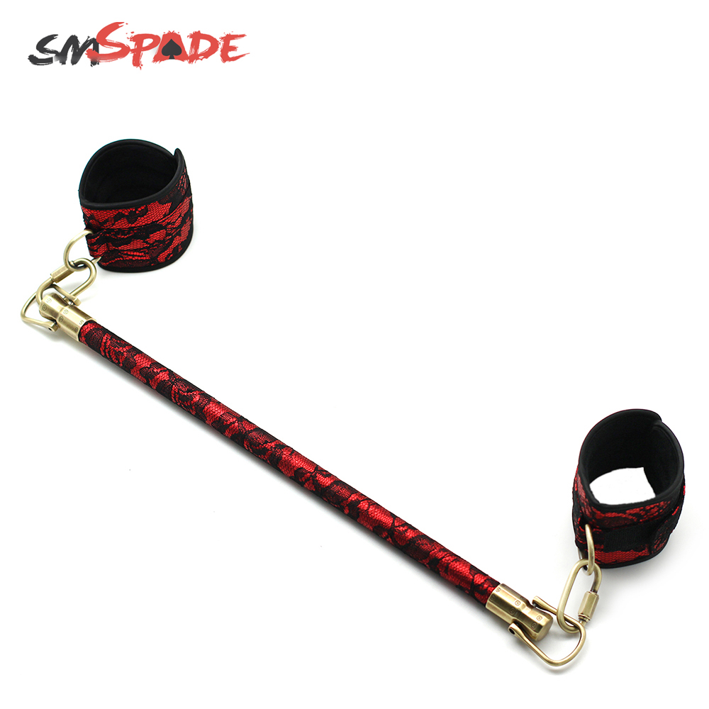SMSPADE Wooden Spreader Bar With Adjustable Lace Leather Straps Set, Slave Adult Sex Toys for Couples Bondage Adult Games image