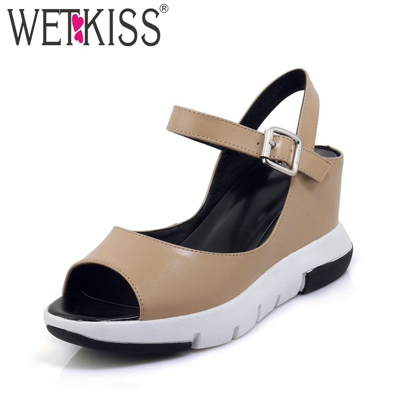 WETKISS 2018 New Casual Women Sandals Genuine Leather Wedges Peep Toe Platform Footwear High Heels Fashion Female Summer Shoes mudibear women sandals pu leather flat sandals low wedges summer shoes women open toe platform sandals women casual shoes