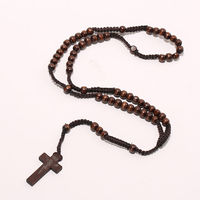 3 colors Men Women New Fashion Catholic Christ Wooden 8mm Rosary Bead Cross Pendant Woven Rope