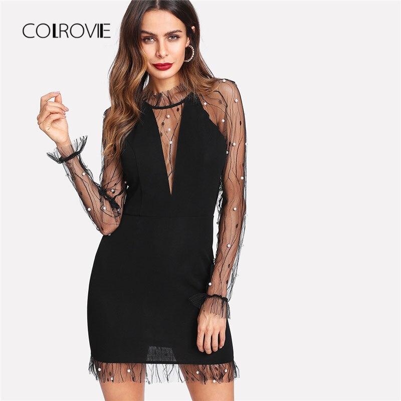 COLROVIE Schwarz Perle Perlen Reben Mesh Panel Kleid Frauen Rüschen Rundhals Langarm Sexy Kleid 2018 Partei Bodycon Kleid