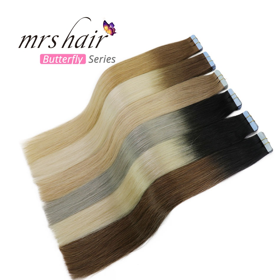 MRSHAIR T1B/Silver Hair Ombre Tape In Hair Extensions 20pcs Balayage Human Hair On Tape Hair Extensions Straight 22Inches