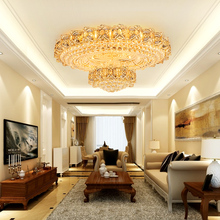 American Crystal Ceiling Lights Fixture LED Modern Round Gold Lamps Luxury Home Indoor Lighting 3 White Colors Dimmable