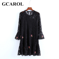 GCAROL Euro Style Embroidered Floral Women Lace Dress Ruffles Design Flare Sleeve Crochet Black Sexy Elegant