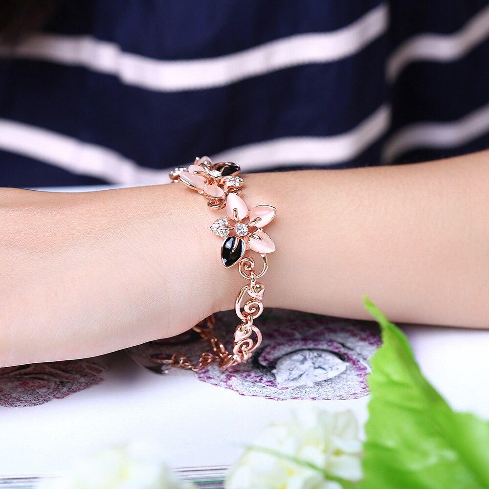 ALULU Mode Blommor Opal Armband Pläterade Guld Bangles Strass - Märkessmycken - Foto 6