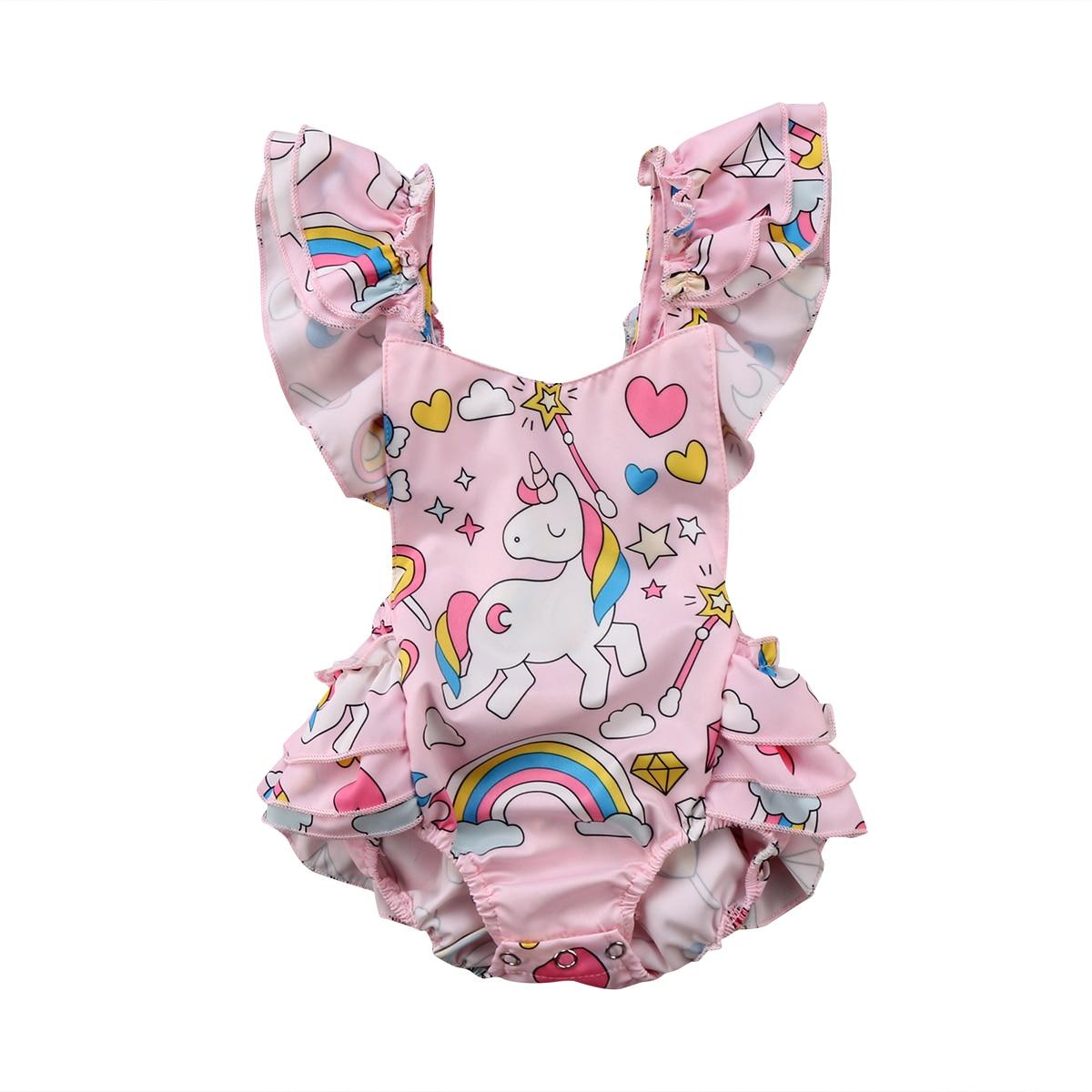 2018 Summer Newborn Baby Girls Backless Cartoon Unicorn Print Sleeveless   Romper   Jumpsuit Outfits Set