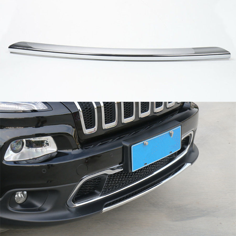 YAQUICKA For Jeep Cherokee 2014 2016 ABS Exterior Car Styling Front Bumper Decorative Strip Sticker Cover Trim Molding